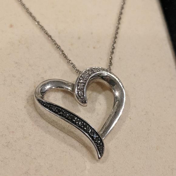 aab4050c1 Kay Jewelers Jewelry   Black White Diamond Heart Necklace   Poshmark